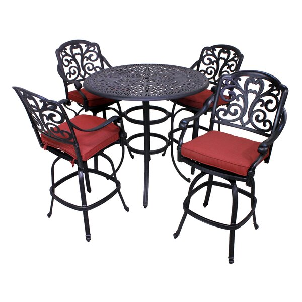Thurston 5 Piece Bar Height Dining Set with Cushion by Fleur De Lis Living