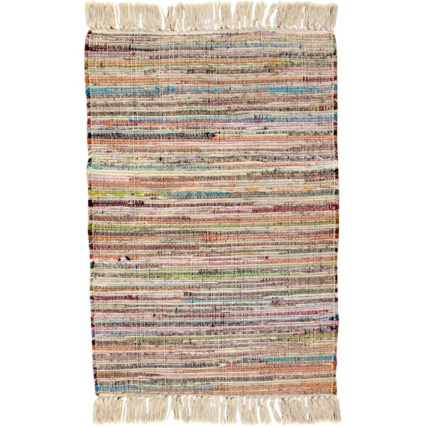 Bombay Hand Woven Cotton Pink/Brown/Blue Area Rug by CLM