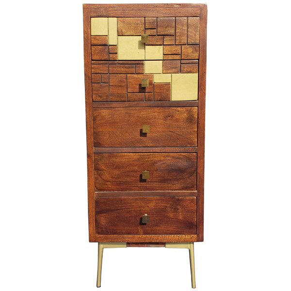 Hitz Mango Wood 5 Drawer Accent Chest by Union Rustic Union Rustic