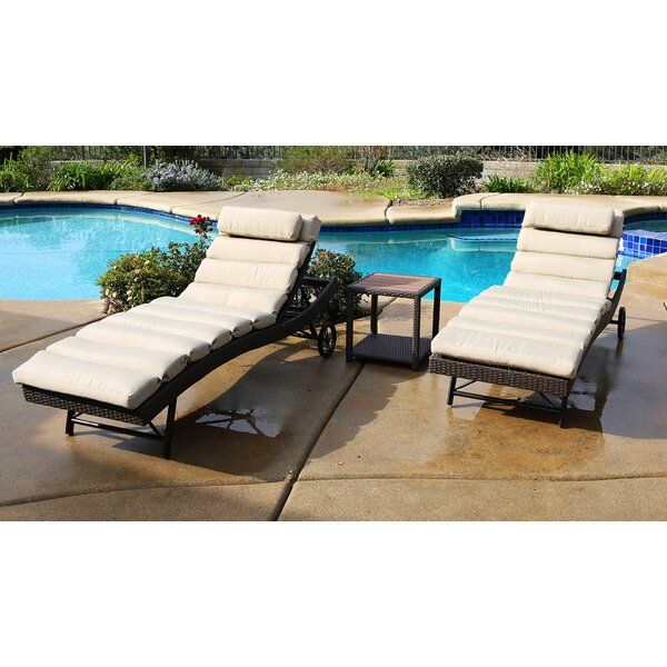 Tampa 3 Piece Chaise Lounge Set with Cushion by World Wide Wicker