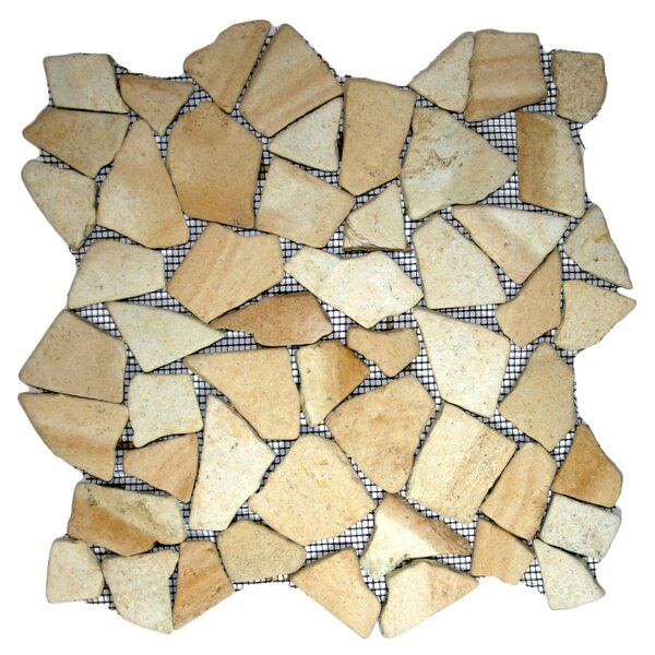 Dolak Random Sized Natural Stone Mosaic Tile in Sandstone by CNK Tile