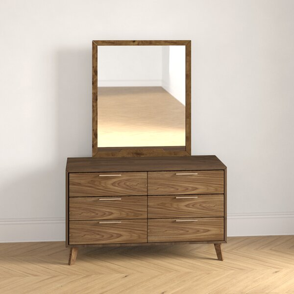 Ronan 6 Drawer Double Dresser with Mirror by Foundstone