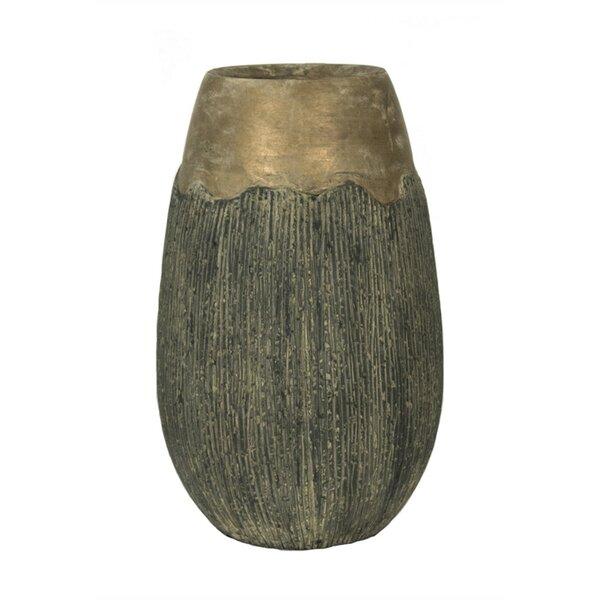 Haydel Vintage Style Textured Cement Flower Pot Planter by Bloomsbury Market