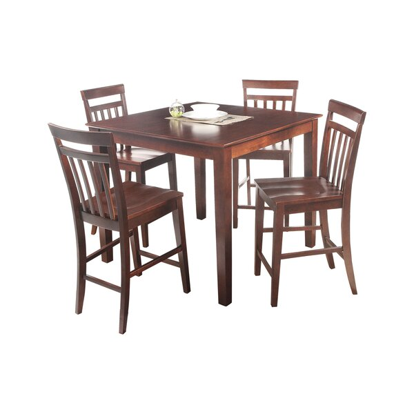 Foxfield 5 Piece Counter Height Solid Wood Dining Set by Loon Peak