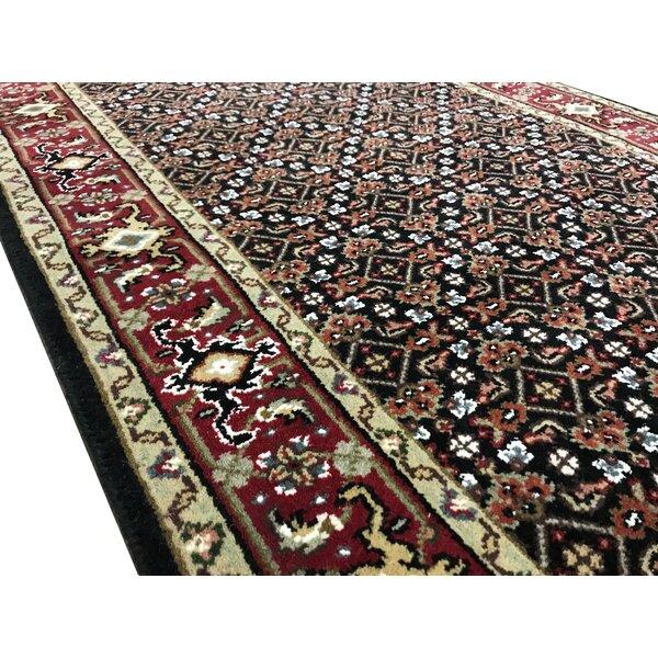 Runner India Oriental Handmade Flatweave Runner 2'7 x 19'8 Wool Black/Red Area Rug