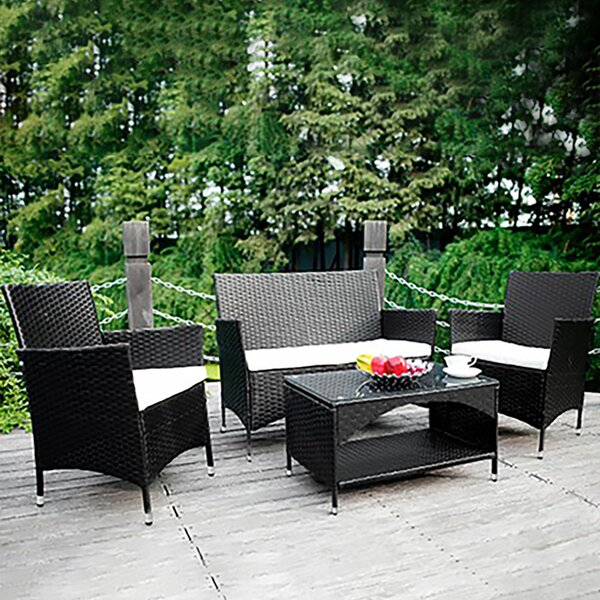 Safflower 4 Piece Rattan Sofa Seating Group with Cushions (Set of 4) by Ebern Designs