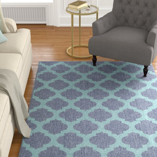 Pearce Trellis Charcoal/Teal Indoor/Outdoor Area Rug by Charlton Home