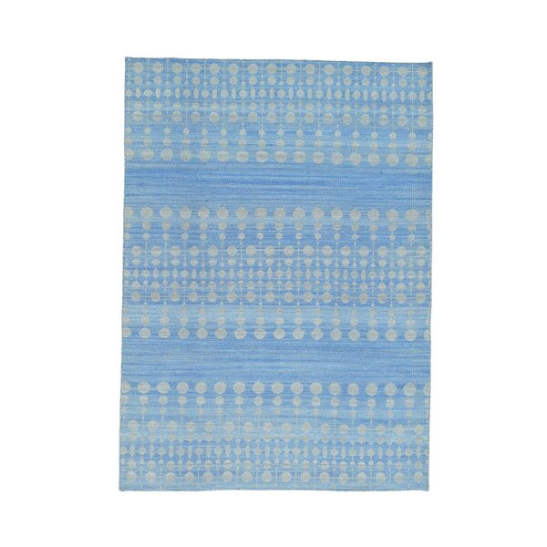 Reversible Kilim Flat Weave Hand-Knotted Blue Area Rug by Bungalow Rose
