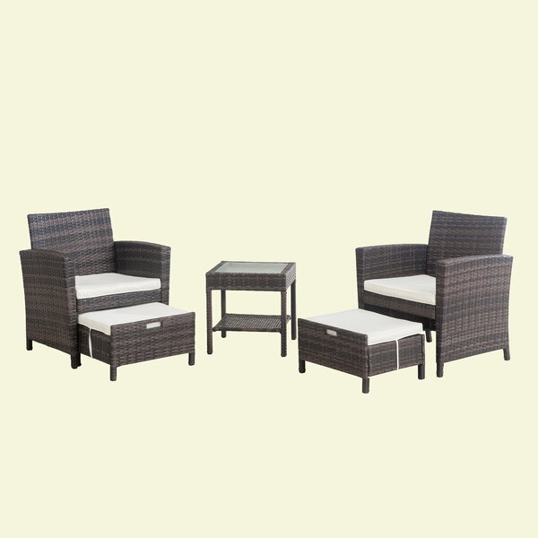 Tyne 5 Piece Rattan Seating Group with Cushions by Wrought Studio Wrought Studio