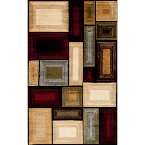 Hasler Black/Red/Beige Area Rug by Ebern Designs