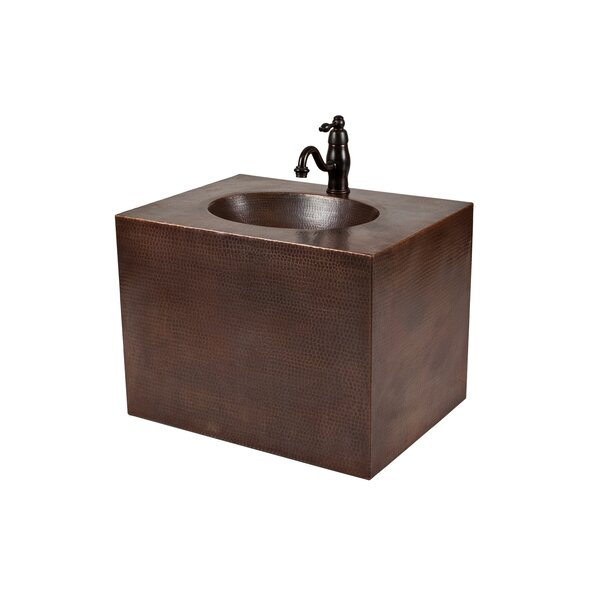 24 Single Hand Hammered Copper Wall Mount Bathroom Vanity Set by Premier Copper Products24 Single Hand Hammered Copper Wall Mount Bathroom Vanity Set by Premier Copper Products