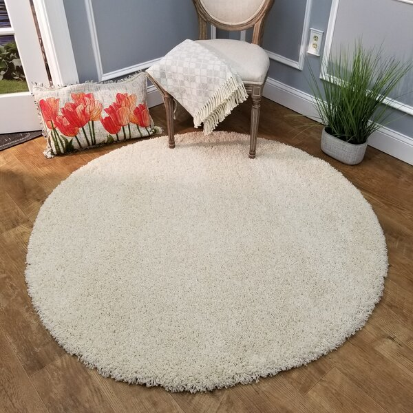 Burns Single Solid Ivory Shag Area Rug by Zipcode Design