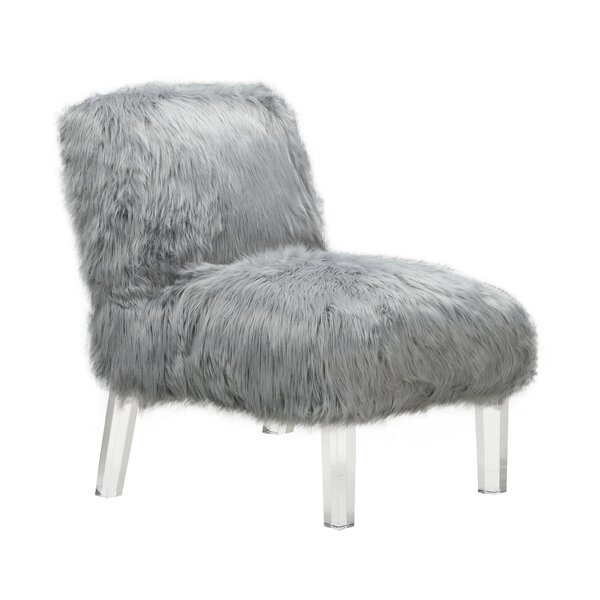Park Accent Sleek Stylish Faux Fur Upholstered Armless Side Chair by Rosdorf Park