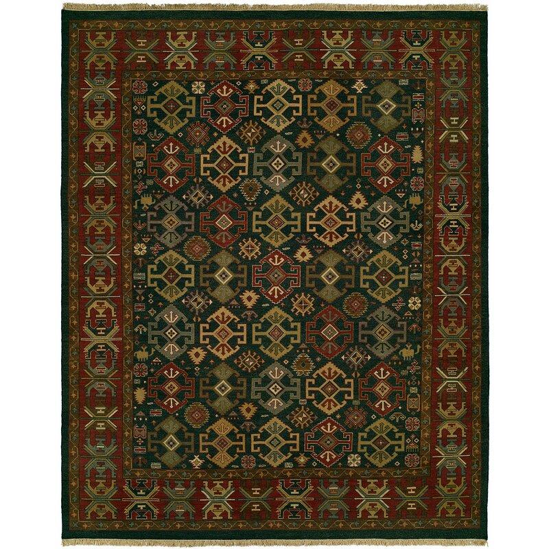Loon Peak Lisbeth Oriental Handmade Wool Green Red Area Rug Wayfair