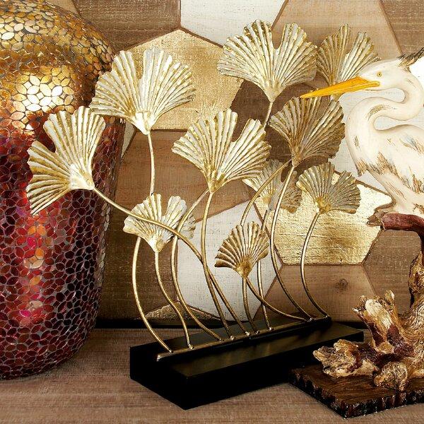 Markey Gold Iron Ginkgo Leaves Sculpture by Bloomsbury Market