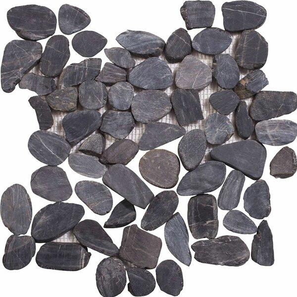 Sliced Random Sized Stone Pebble Tile in Black