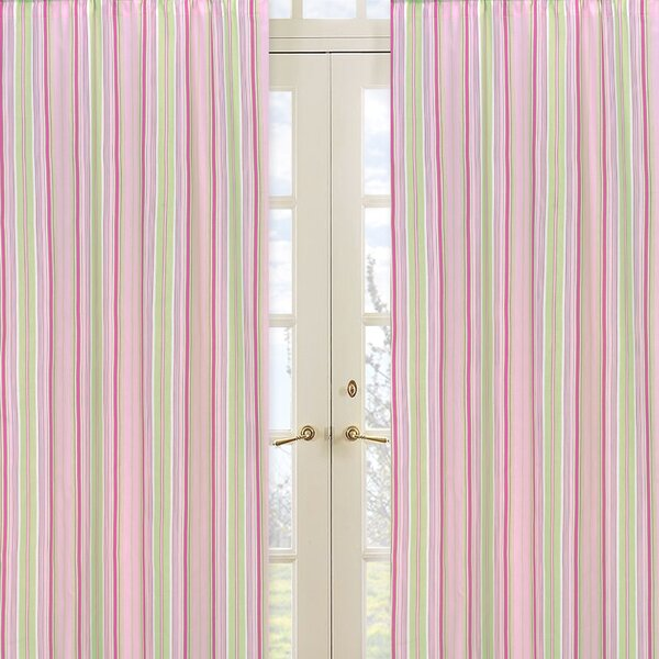 Jungle Friends Striped Semi-Sheer Rod pocket Curtain Panels (Set of 2) by Sweet Jojo Designs