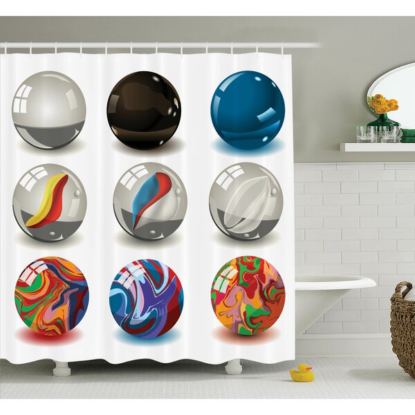 Bubbles Artwork Shower Curtain Set by Ambesonne