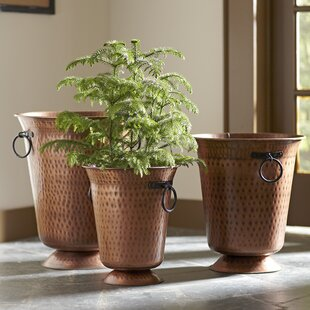 Delicieux 3 Piece Hammered Copper Pot Planter Set
