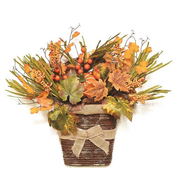 Autumn Harvest Artificial Pumpkins, Berries, Leaves and Grass Wall Mounted Basket Decoration by Northlight Seasonal