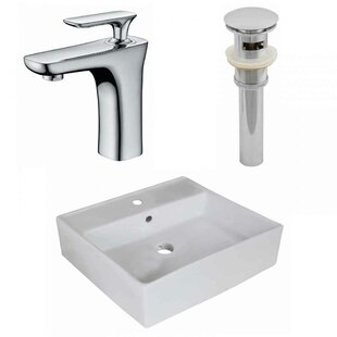 Savings Ceramic Square Vessel Bathroom Sink with Faucet By American Imaginations