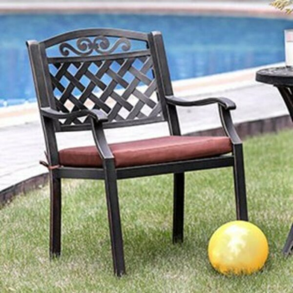 Schroer Patio Dining Chair with Cushion (Set of 2) by Charlton Home