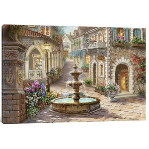 'Cobblestone Fountain' Painting Print on Canvas by East Urban Home