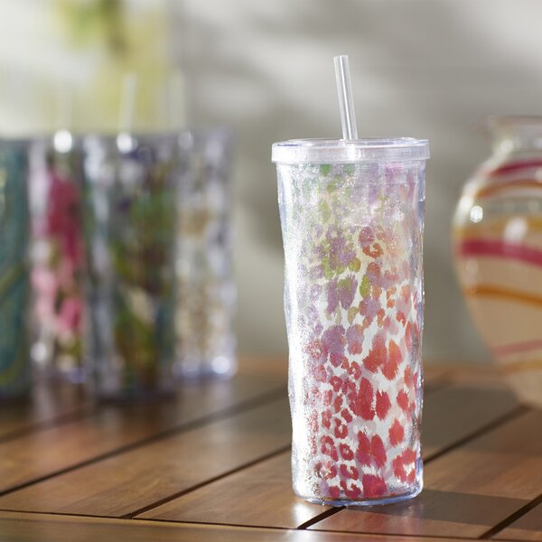 Grassingt Colorful Cheetah Textured 16 oz. Plastic Travel Tumbler by Latitude Run