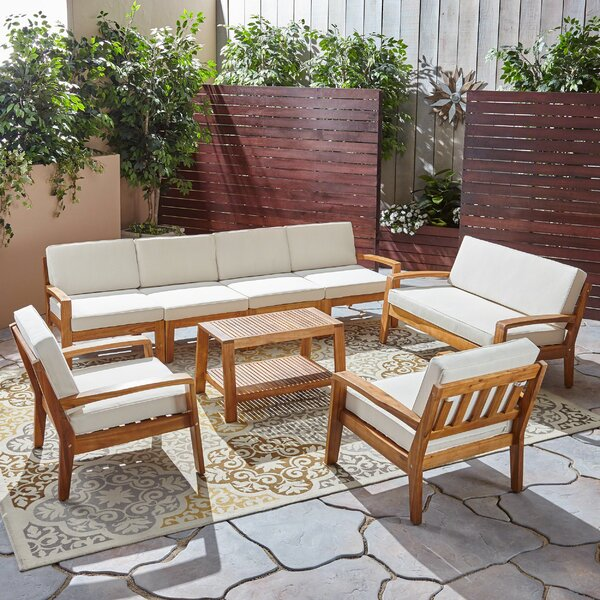 Jamie 7 Piece Sectional Seating Group with Cushion by Longshore Tides