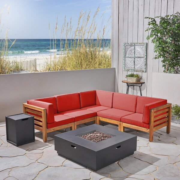 Eugene 7 Piece Sectional Seating Group with Cushions by Longshore Tides