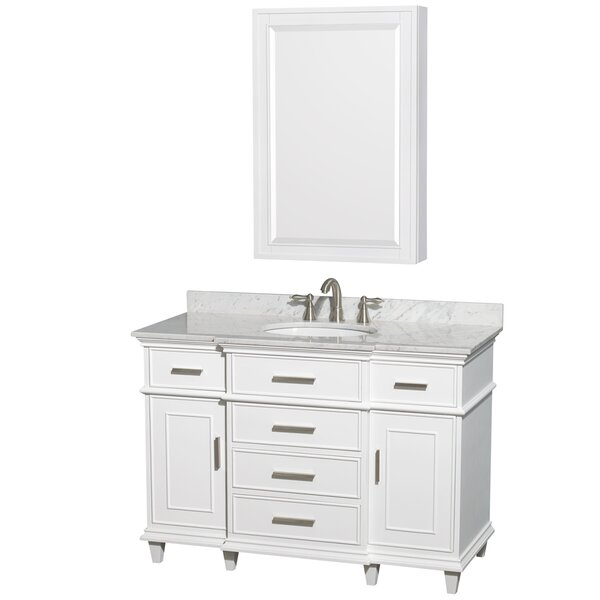Berkeley 48 Single White Bathroom Vanity Set with Medicine Cabinet by Wyndham Collection