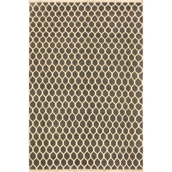 One-of-a-Kind Ciara Hand Knotted Wool Gray/Tan Area Rug by Mercer41