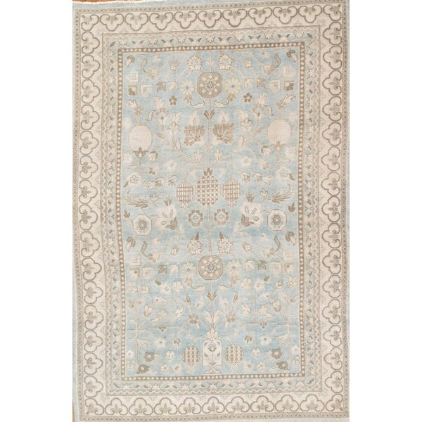 Khotan Light Grey & Blue Tribal Traditional Area Rug by Pasargad