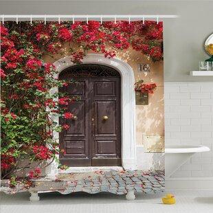 Bargain Floral Medieval Wooden Door Shower Curtain Set ByAmbesonne