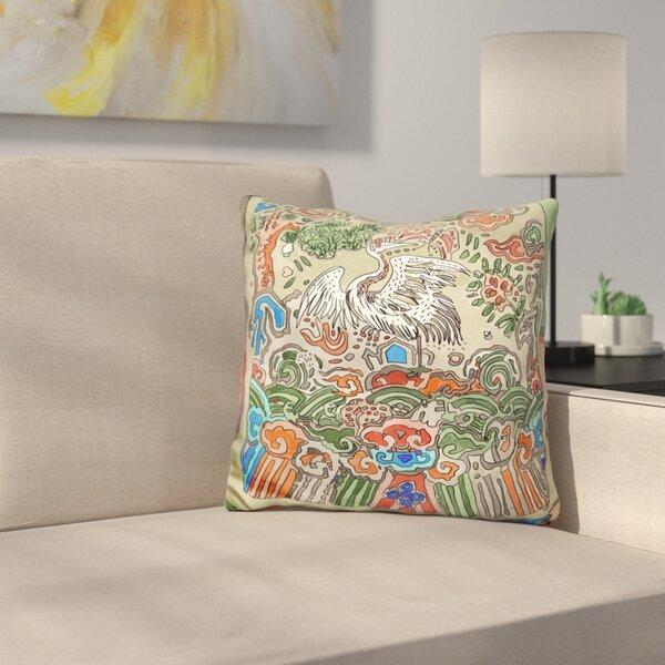 Asian Crane Throw Pillow by East Urban Home