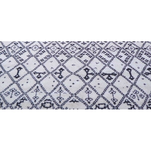 Genuine Fine Moroccan Hand-Knotted Wool Ivory Area Rug by Pasargad NY