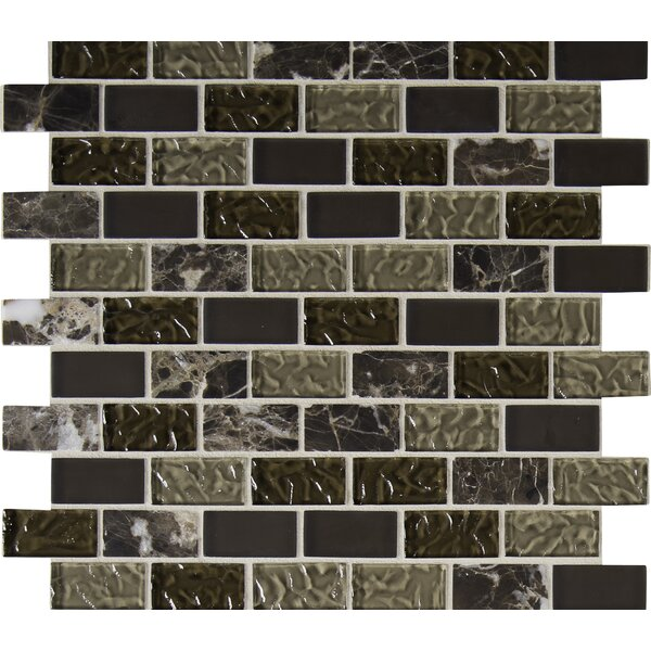 Sonoma Blend 1 x 2 Glass and Natural Stone Subway Tile in Brown by MSI