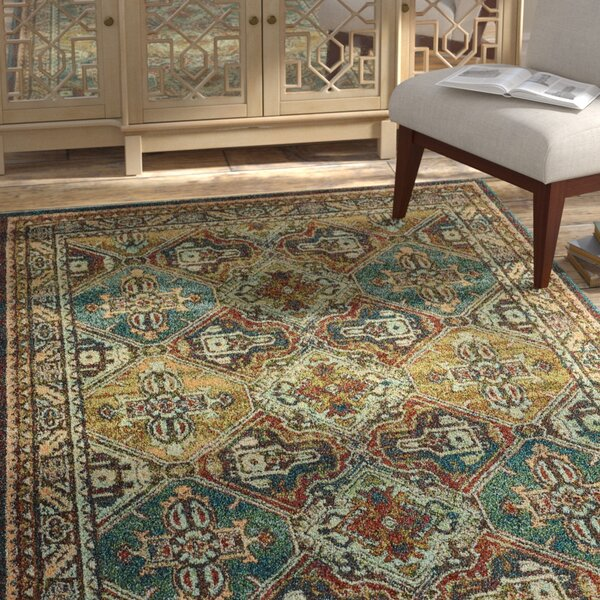 Hedberg Teal/Brown Area Rug by Bloomsbury Market