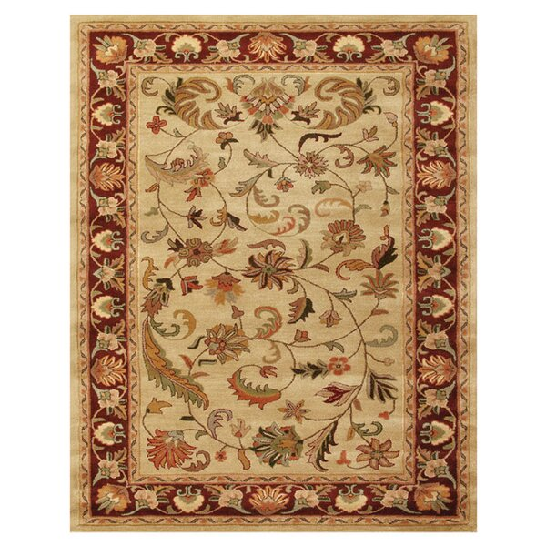 Baskett Ivory/Red Area Rug by Astoria Grand