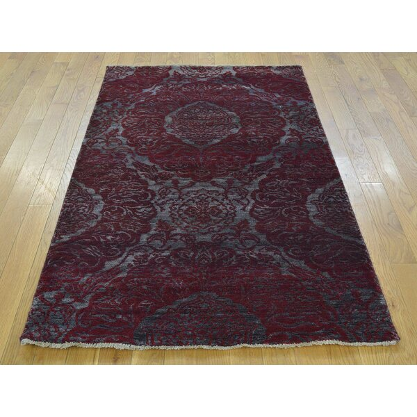 One-of-a-Kind Bean Damask Hand-Knotted Grey Wool/Silk Area Rug by Isabelline