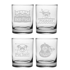 Pug Shots 14 oz. Rocks Glass (Set of 4)