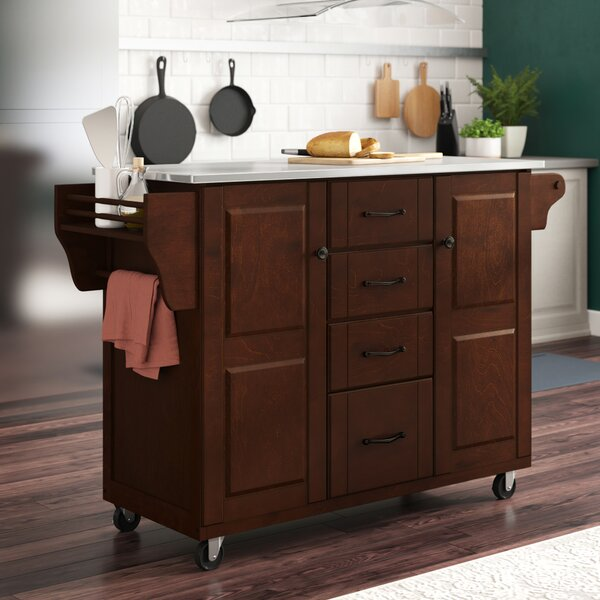 Iyana Kitchen Island with Stainless Steel Top by Charlton Home