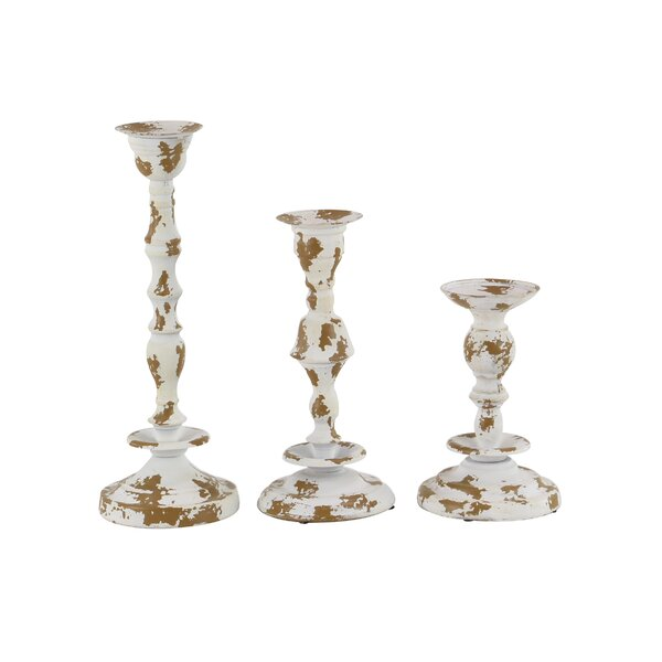 Rustic Distressed 3 Piece Metal Candlestick Set by Gracie Oaks