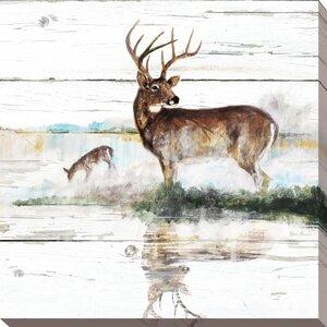 'Rustic Misty Deer' Painting Print on Wrapped Canvas by Loon Peak