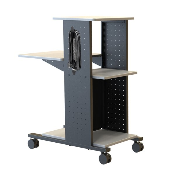 4-Shelf Presentation Station AV Cart with Cabinet by H. Wilson Company