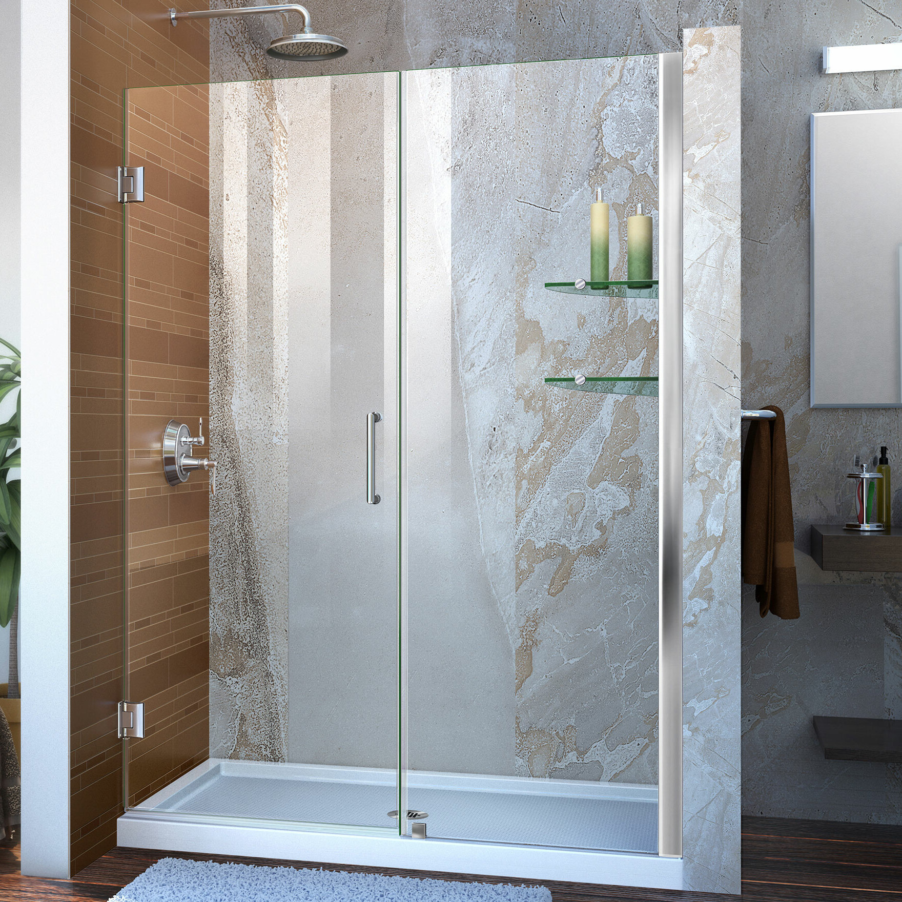Unidoor 52 X 72 Hinged Frameless Shower Door With Clearmax Technology