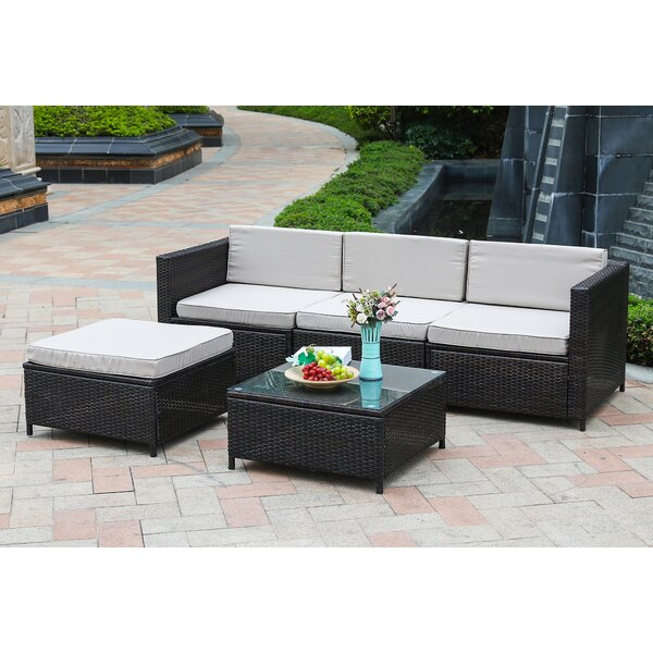 Izora Outdoor 5 Piece Rattan Sectional Seating Group Set with Cushions (Set of 5) by Wrought Studio