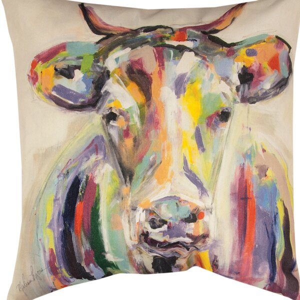 Artsy Cow Throw Pillow by Manual Woodworkers & Weavers