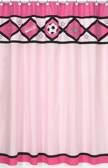 Soccer Pink Cotton Shower Curtain by Sweet Jojo Designs