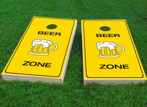 Bright Yellow Beer Zone Cornhole Game (Set of 2) by Custom Cornhole Boards